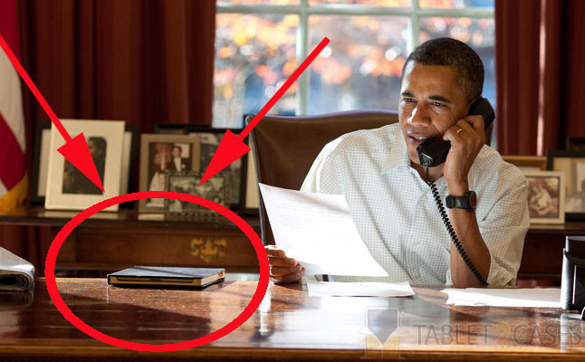 Obama protects his iPad with Dodocase Classic Book Case