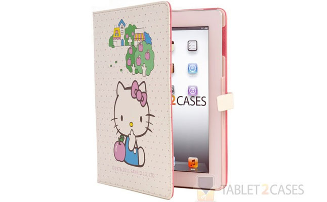 Hello Kitty Themed Folio Case with Pink Apples