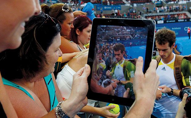 Andy Murray photographed from iPad