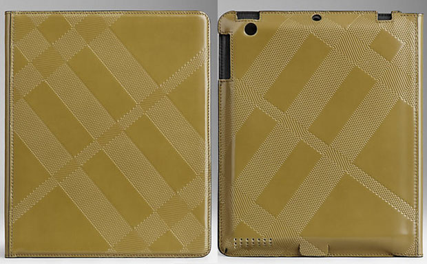 Burberry Embossed Check Leather