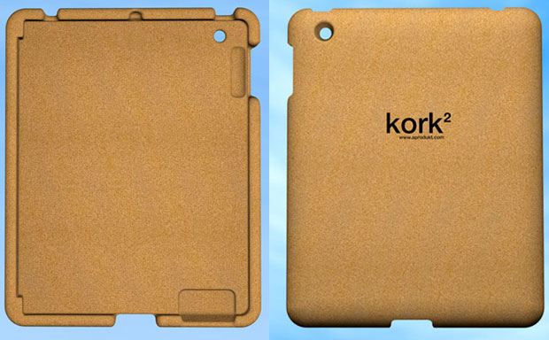 Sturdy, yet extremely lightweight tablet shell made from recycled cork material