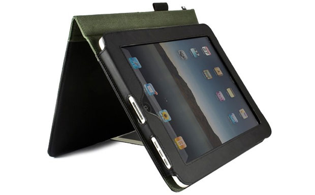 Offers the same looks as a genuine leather tablet folio case, but is produced from recycled leather