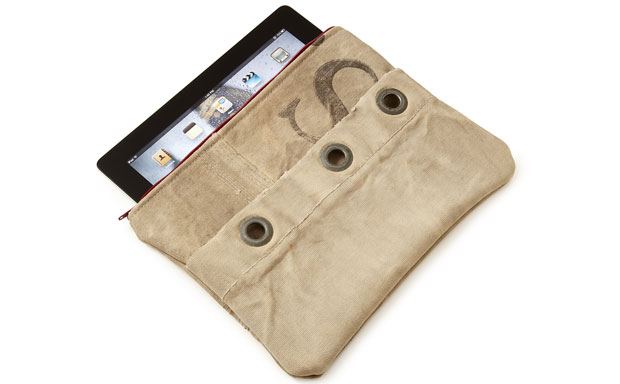 Sturdy tablet sleeve made from discarded mail sacks and upcycled ultra-suede material