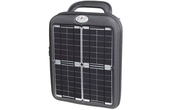Rugged tablet sleeve with an embedded solar panel and a battery to save power for later use