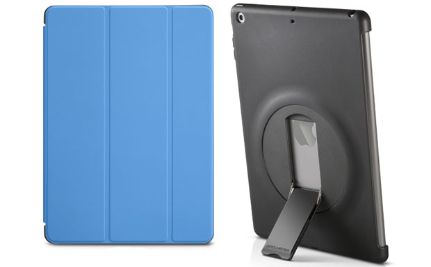 Innovative tablet shell compatible with Smart Cover and featuring a multi-functional stand