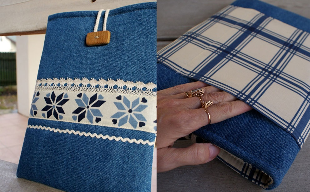 Simple tablet sleeve with string and button lock made from premium denim fabric – Sandra Stju Apple iPad Sleeve